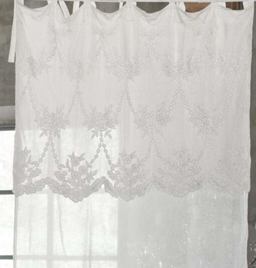 Tenda Ricamata in Lino Clarissa Blanc Mariclò 140x290