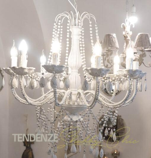 Lampadario con pendenti bianco antico a 12 bracci