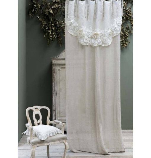 Tenda con mantovana 100% lino Blanc Mariclò