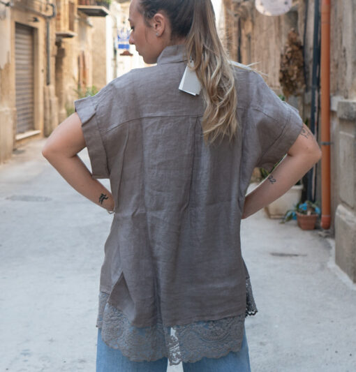 Camicia in Lino e Pizzo Corinzio Cristobal - Chez Moi