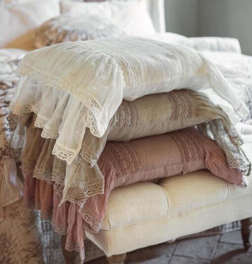 Cuscino in Lino con Rouches Blanc Mariclò - Provenzale