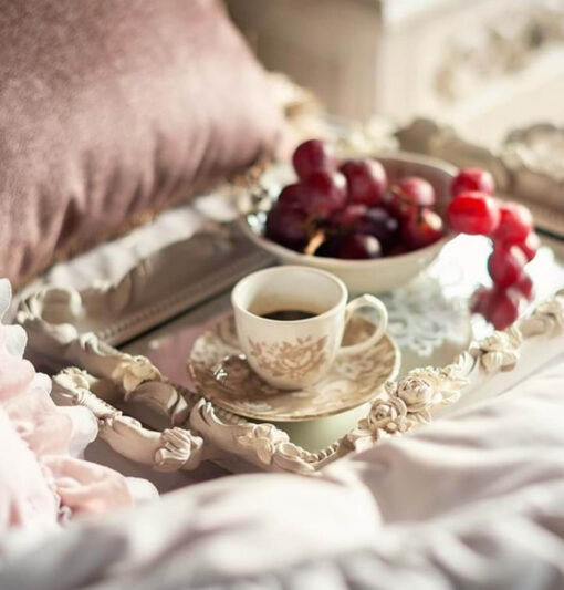 Set 6 tazzine caffè Splendor in ceramica beige
