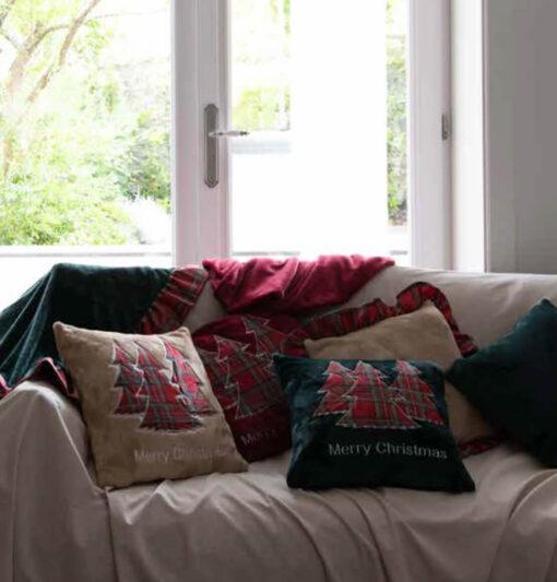 Cuscino ricamato tartan 45 x 45 cm